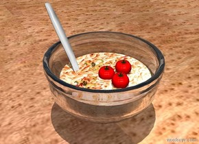 a clear white bowl.a pond fits in the bowl.the pond is 1 inches tall.the pond is [food].it is noon.a spoon is -3 inches right of the bowl.the spoon is leaning 45 degrees to the north.the spoon is -4.2 inches in front of the bowl.a 1st tiny tomato is -1.6 inches above the bowl.a 2nd tiny tomato is behind the 1st tomato.a 3rd tiny tomato is left of the 1st tomato.a 1st pasta is right of the 1st tomato.a 2nd pasta is in front of the 1st tomato.the ground is wood.