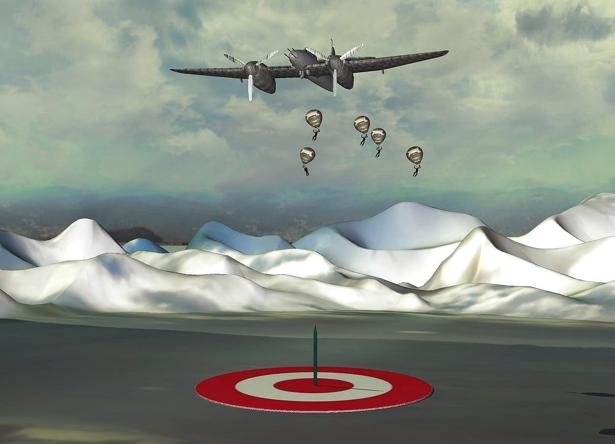 Input text:  a [metal] plane is 35 feet above the ground. 1st miniature [camouflage] balloon is -15 feet above the airplane. it leans right. 2nd miniature [camouflage] balloon is 4 feet behind and 2 feet right of the 1st balloon. it leans right. 3rd miniature [camouflage] balloon is 2 feet behind and -7 feet above and 6 feet left of the 2nd balloon. it leans left. 4th miniature [camouflage] balloon is 4 feet right of and -8 feet above the 2nd balloon. it leans right. 5th miniature [camouflage] balloon is 13 feet behind and 3 feet right of the 1st balloon. a 10 feet tall pen is -38 feet above the 1st balloon. it is upside down. 1st tiny man is -4.5 feet above the 4th balloon. he leans right. 2nd tiny man is -4.5 feet above the 2nd balloon. he leans right. 3rd tiny man is -4.5 feet above the 3rd balloon. he leans right. 4th tiny man is -4.5 feet above the 5th balloon. he leans right. 5th tiny man is -4.5 feet above the 1st balloon. he leans right.the propeller of the plane is shiny [metal]. the fuselage of the plane is [metal]. the wing of the plane is [metal]. a [target] pond is on the ground. it is -15 feet left of the pen.the ground is [grass]. the ground is 60 feet tall. the sun is sage green.