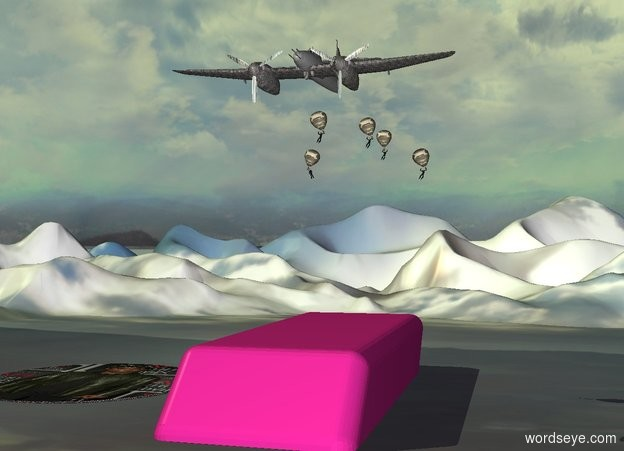 Input text:  a [metal] plane is 35 feet above the ground. 1st miniature [camouflage] balloon is -15 feet above the airplane. it leans right. 2nd miniature [camouflage] balloon is 4 feet behind and 2 feet right of the 1st balloon. it leans right. 3rd miniature [camouflage] balloon is 2 feet behind and -7 feet above and 6 feet left of the 2nd balloon. it leans left. 4th miniature [camouflage] balloon is 4 feet right of and -8 feet above the 2nd balloon. it leans right. 5th miniature [camouflage] balloon is 13 feet behind and 3 feet right of the 1st balloon. a 10 feet tall pencil eraser is -38 feet above the 1st balloon. it is upside down. 1st tiny man is -4.5 feet above the 4th balloon. he leans right. 2nd tiny man is -4.5 feet above the 2nd balloon. he leans right. 3rd tiny man is -4.5 feet above the 3rd balloon. he leans right. 4th tiny man is -4.5 feet above the 5th balloon. he leans right. 5th tiny man is -4.5 feet above the 1st balloon. he leans right.the propeller of the plane is shiny [metal]. the fuselage of the plane is [metal]. the wing of the plane is [metal]. a [target] pond is on the ground. it is -15 feet left of the pen.the ground is [grass]. the ground is 60 feet tall. the sun is sage green.