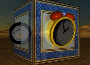 a 50 inch tall shiny  [picture frame] cube.it is night.ambient light is gray.a 1st 30 inch tall gold clock is -12 inch in front of the cube.the 1st clock is -40 inch above the cube.a 2nd 20 inch tall black  clock is -13 inch left of the cube.the 2nd clock leans 30 degrees to east.the 2nd clock is -40 inch above the cube.the frame of the 1st clock is gold.the 1st clock leans 15 degrees to the front.