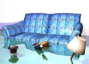 a [wintery] sofa is in front of a [brick] wall. the wall is 1 foot in the ground. ground is shiny. a small man is in front of and -3 feet above the sofa. he faces left. he leans 60 degrees to the back. a dog is in front of the man. it is -2.3 feet above the sofa. it faces southeast. it leans to the back. a small lamp is in front of and to the right of the man. the lamp is -3.3 feet above the sofa. the  lamp leans to the left. sun is sea mist blue. a baby blue light is above and south of and east of the dog. a midnight blue light is above and 20 feet in front of the wall.