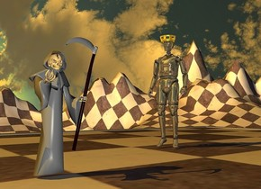 a 100 inch tall  checkerboard is on the ground..the frame of the checkerboard is gray.sky is 2000 feet tall.ground is 120 feet tall.ground is 800 inch wide [checkerboard].a 250 inch tall gray grim reaper is on the checkerboard.the grim reaper is -400 inch left of the checkerboard.the grim reaper is -700 inch in front of the checkerboard.a 380 inch tall shiny 20% dim antique white man is 400 inch right of the grim reaper.the man is 120 inch behind the grim reaper.the man is facing the grim reaper.a 19 inch tall gold crown is -12 inch above the man.sun is sunlight yellow.sky leans 90 degrees to south.