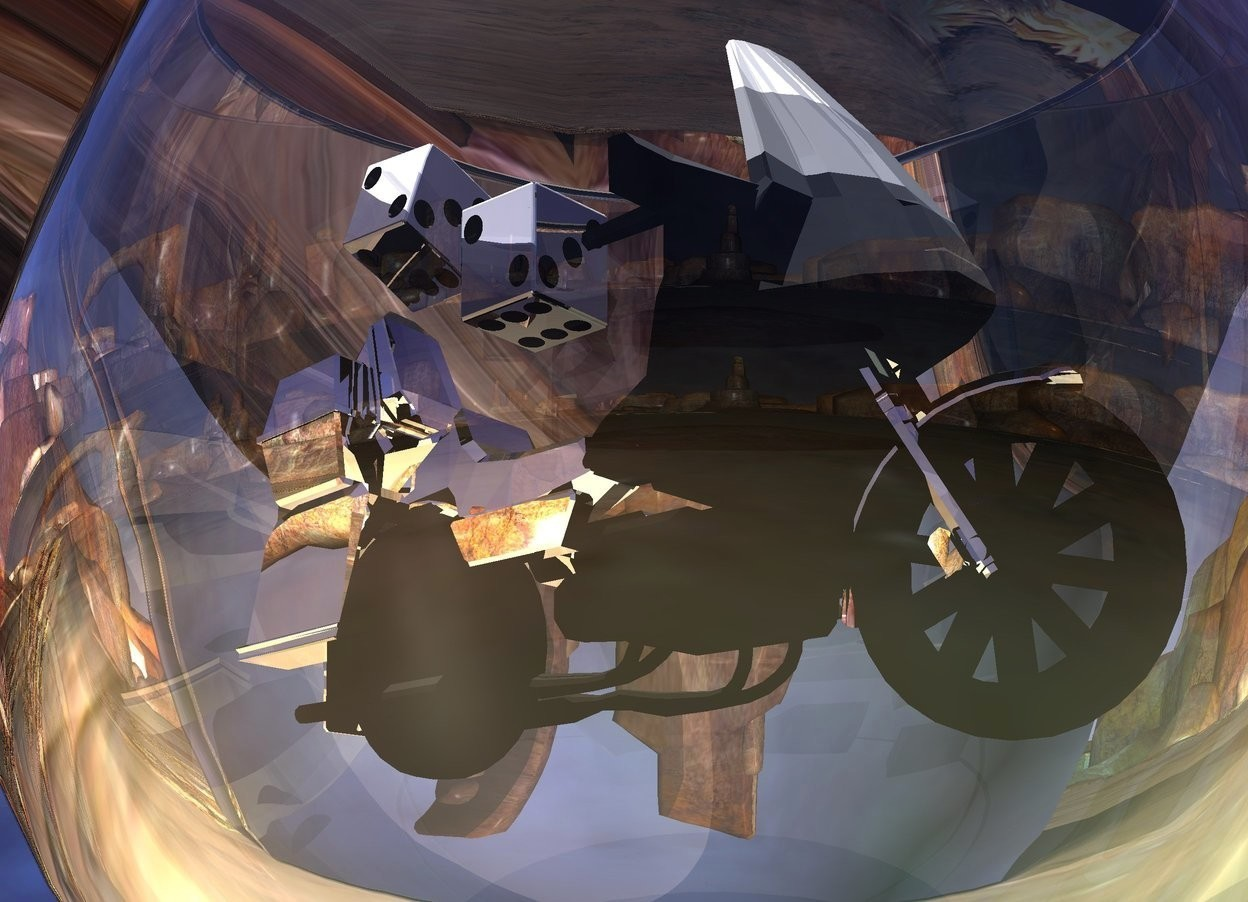 Input text: A silver motorcycle fits in a glass. A huge clear white dodecahedron is behind and right of the glass. Camera light is black. 5 lights are above the glass. A cyan light is in front of the glass. The sun is silver. Ambient light is black. A tiny shiny die is -0.5 inch above and -1 inch behind the motorcycle. It is leaning left. A tiny shiny die is -0.7 inch above and -1.5 inch behind the motorcycle.