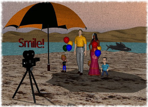 "ocean. sandy Island on ocean. princess on the island. Man next to the princess. Small Kid on the right of princess. Kid next to man. Giant fish thirty feet behind Kid. The fish is facing east. Giant Umbrella on the left of kid. Giant Camera is eight feet in front of Man. The camera is facing Man. Small red translucent ""Smile!"" is 0.2 feet above camera."