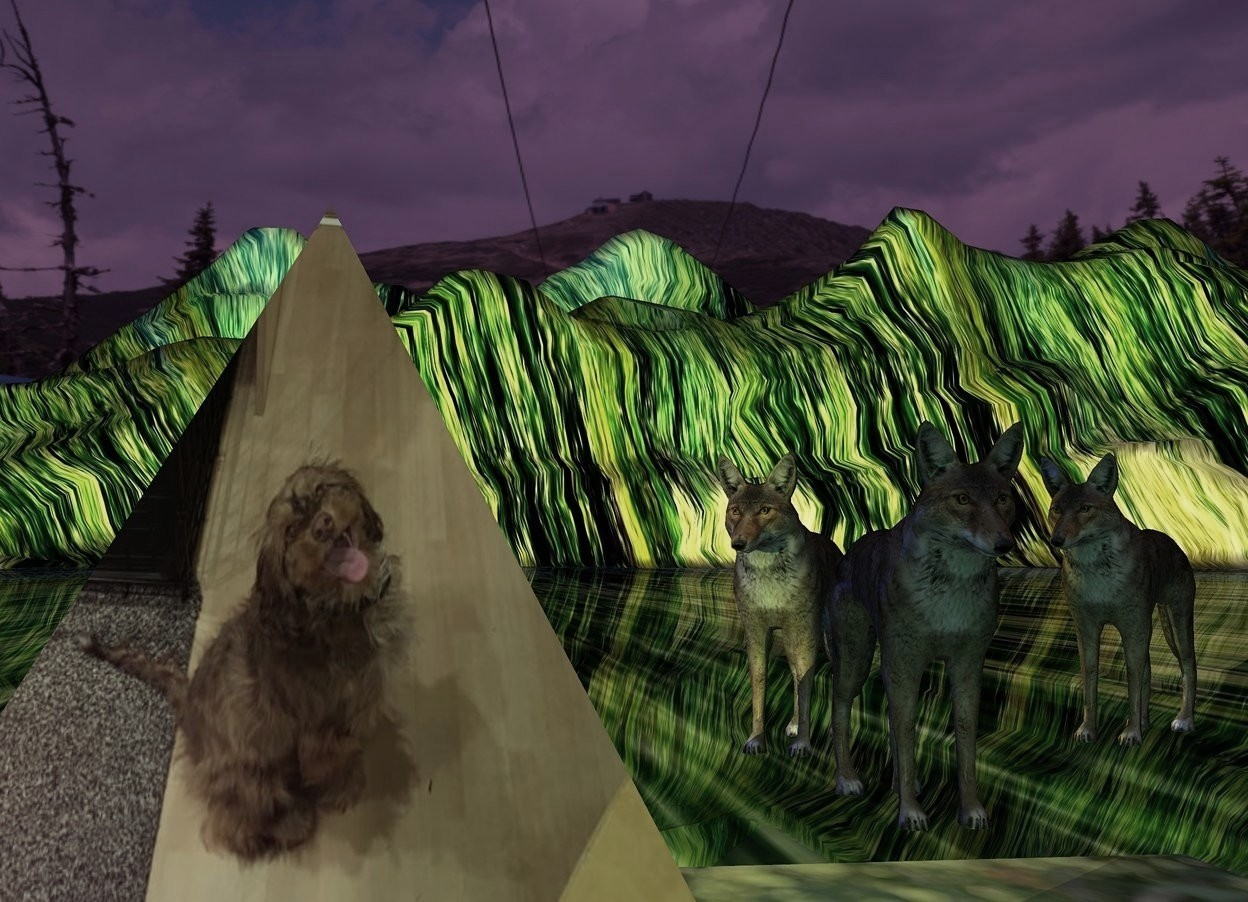 Input text: A image-12184 pyramid. The ground is [forest]. A tiny wolf is 6 inch right of and behind the pyramid. A tiny wolf is behind the wolf. It is facing the pyramid. The sun is purple. A lemon light is behind the wolf. Camera light is sea green. The sky is 2000 feet wide [green]. It is leaning 15 degrees to the back. The azimuth of the sun is 200 degrees. A lemon light is left of and -6 inch in front of the pyramid. A navy light is left of the wolf. A [forest] sheet is -2 feet above the wolf. A tiny wolf is 2 inch right of the wolf. It is facing southwest.