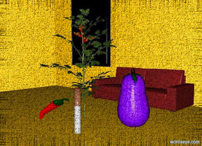 a big dull eggplant is right of a tomato. a 1 foot tall and .15 foot wide and .15 foot deep cigarette is in front of and -.3 foot right of the tomato. a 16 foot tall house is -3 feet above the tomato. a small sofa is .7 foot behind the tomato. a very big pepper is .2 foot  left of the cigarette.