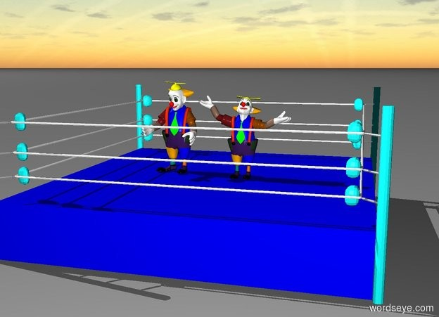 Input text: Boxing ring . There is two men in the boxing ring