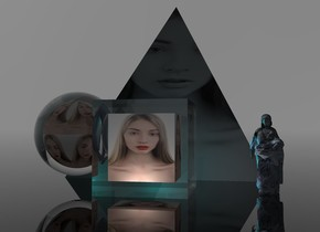 A 5 feet wide [woman] cube is -6 foot above a 7 feet wide clear cube. 2 lights are 1 inch in front of and -5.8 feet above the cube. The sky is grey. The ground is clear. A 7 feet wide clear sphere is left of the cube. A 4 feet wide [woman] sphere is -5.5 feet above the sphere. A 30% dark 20 feet high 2% shiny black [woman] pyramid is 4 feet behind the cube. It is on the ground. 2 cyan lights are 1 inch in front of the pyramid. A [cube] woman is -2 foot right of and 5 feet in front of the pyramid. Camera light is black. A lilac light is left of the woman.