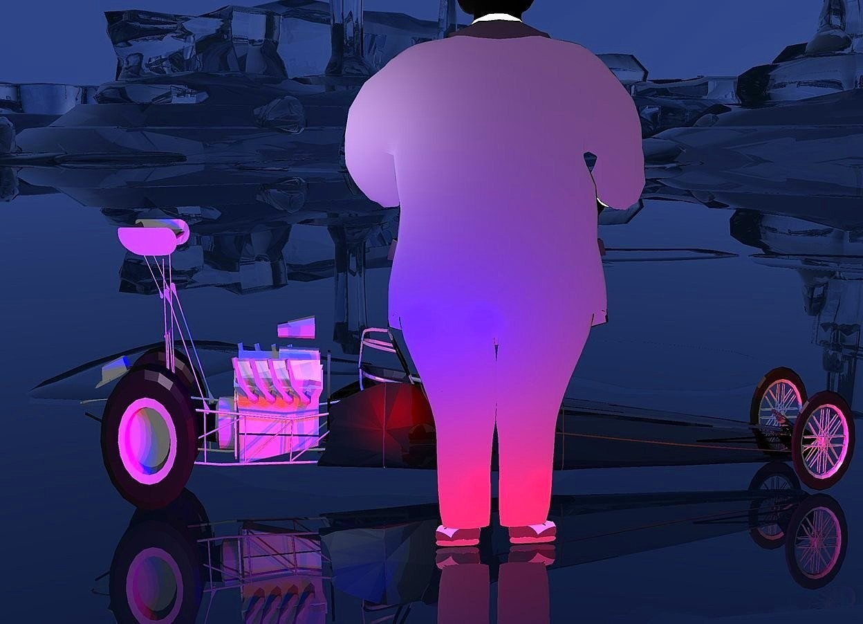 Input text: a 110 inch tall flat black man.the man is facing north.sky is night blue.ground is clear.three red lights are 5 inch in front of the man.three blue lights are 20 inch above the red lights.a 55 inch tall and 155 inch deep shiny car is 20 inch behind the man.the car is facing east.