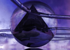 there is a 1st clear sphere.  a small clear pink pyramid is .7 foot in the sphere. a 2nd very small clear black sphere is .5 foot in the pyramid. a clear white rope is 3 inches in the 2nd sphere. the ground is clear. the sun is pink. the camera light is red. a blue light is above the rope.