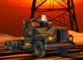 a 100 inch tall  shiny  petrol blue mack truck.sky is [sky].ground is  [sky].sun is  orange.sky is 3000 feet tall.the headlight of the mack truck is orange.the window of the mack truck is clear white.a 23 inch tall shiny  petrol blue hat is -46 inch above the mack truck.the hat is  -72 inch in front of the mack truck.the hat leans 18 degrees to the front.