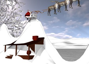 the ground is snow. a 2 foot tall [snow] camel. a 5 foot tall tree is behind the camel. a .1 foot tall sleigh is -.06 foot above the camel. the santa claus is in the sleigh. he is 1.5 inches tall. the reindeer is 2 inches in front of the sleigh. it is 2 inches tall. another reindeer is .5 inch in front of the reindeer. it is 2 inches tall. a third reindeer is .5 inches  in front of the reindeer. it is 2 inches tall. the rope is -.5 inches in front and -1 inches above the santa claus. it is 4 inches wide. it is facing right. it is leaning 10 degrees to the back.  the house is -2 inches to the left of the sleigh. it is -7 inches above the sleigh. it is 3 inches tall. the house is facing left.