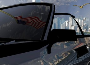 A flag is in a black shiny car. A city is in the background. The ground is 10 feet wide water. A bird is 2 feet above and behind the car.