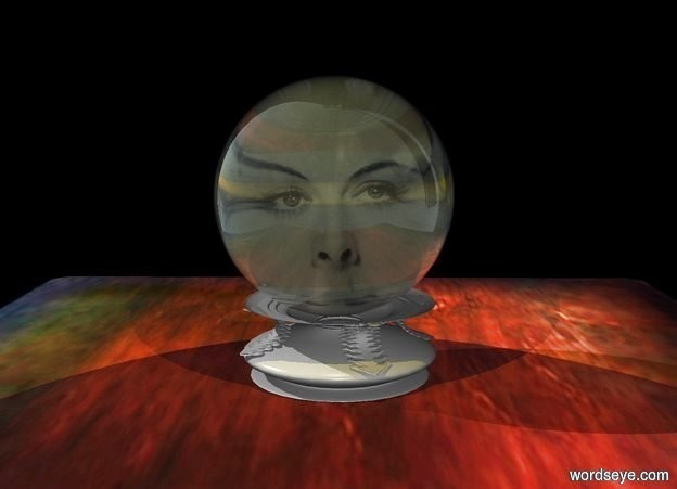 Input text: a black upside down lamp is .3 foot tall and 1 foot wide and 1 foot deep. it is -.15 foot above a table. a crystal ball is -.04 foot above the lamp. ground is invisible. a .4 foot tall head is behind the ball. a tiny yellow light is above and -.1 foot in front of the head.  a huge black curtain is behind and -4 feet right of the table. a tiny gold light is above and in front of the ball.
