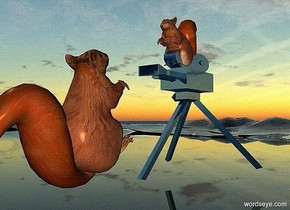 a 140 inch tall and 160 inch deep and 140 inch wide  shiny petrol blue camera.ground is clear.a 1st 60 inch tall squirrel is -20 inch above the camera.a 2nd 100 inch tall squirrel is in front of the camera.the 2nd squirrel leans 40 degrees to back.the 2nd squirrel is facing the camera.the 2nd squirrel is -160 inch above the camera.