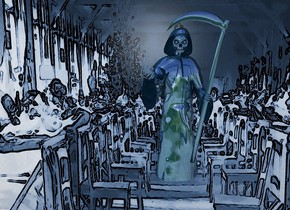 a 950 inch wide and 650 inch tall [flu] wall.a 400 inch tall shiny petrol blue grim reaper is in front of the wall.the grim reaper is -500 inch above the wall.the grim reaper is -480 inch right of the wall.