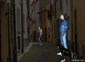 a city backdrop.a dog.a man is 2 feet left of the dog.a woman is 2 feet in front of the man.she is 15 feet left of the man.the woman is facing southeast.the dog is facing southwest.