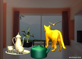a [space] backdrop.a tea kettle.a orange cat is behind the tea kettle.a tea set is 2 inches left of the tea kettle.a plant is 2 inches left of the cat.a 50% yellow light is 2 feet above the tea kettle.the cat is facing northwest.a bird is 3 inches above the plant.it is 6 feet behind the plant.the bird is left of the plant.