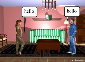 a 10 foot tall living room. a man is -10 feet above and -10 feet right of the living room. he faces left. a woman is 7 feet left of the man. she faces right.