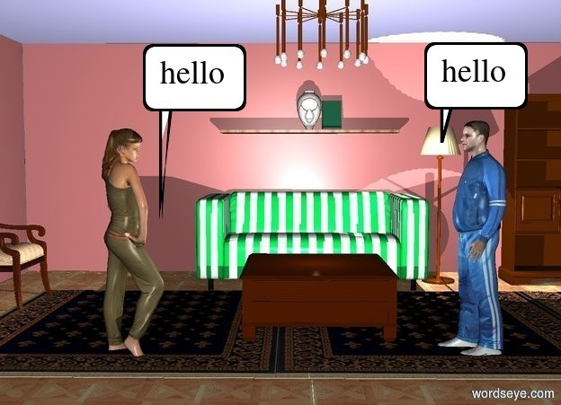 Input text:  a 10 foot tall living room. a man is -10 feet above and -10 feet right of the living room. he faces left. a woman is 7 feet left of the man. she faces right.