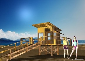 the beach backdrop. the ground  is 20 feet tall.  the swimmer is two feet right of  the wooden lifeguard station.  the white light is in front of the swimmer. the woman is right of the swimmer. the yellow light is in front of the lifeguard station.