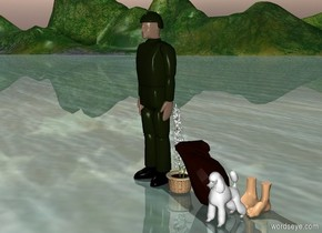 A young man stands on the edge of a cliff. He is gazing upwards toward the sky. He holds a knapsack and a white flower. At his feet is a small white dog.