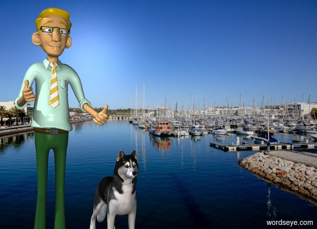 Input text: The [ocean] backdrop.  the dog is right of the man.