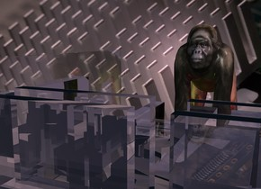 a clear white circuit board.the circuit board is 100 feet deep.the circuit board is 80 feet wide.the circuit board is 40 feet tall.computer backdrop.a 50 feet tall primate is -12 inches in front of the circuit board.he is facing the circuit board.a yellow light is 1 feet right of the primate.a red light is 1 feet left of the primate.the sun is pink.