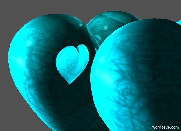 Input text: The  white  backdrop.  1st shiny azure 1st heart. the sky is black. the ground is invisible. 10 sky blue lights are -1 feet above and .1 feet behind the heart. the camera light is black. the sun is black. 2nd 1.6 feet tall green turquoise  heart is .3 feet in front of and -1.6 feet above the 1st heart. it leans to the back. 3 sea mist blue lights are .07 feet behind and -.6 feet above the 2nd heart.