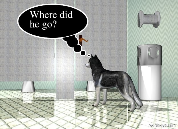Input text: the dog is in front of the bathroom. the dog is facing northwest. the ground is tile. the ground is shiny.