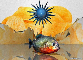 a   chip backdrop.sky is shiny black.ground is shiny.ground is 180 feet tall and 3200 feet wide and 160 feet deep.a 10 inch tall fish.the fish is facing southwest.a 15 inch tall 60% dim petrol blue sun symbol is 3 inch above the fish.the sun symbol is facing west.