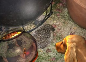 A image-12253 backdrop. A dog is 1 foot right of a small 50% shiny gradient cauldron. It is facing west. The cauldron is leaning forward. The sky is image-12253. It is leaning forward. 2 orange lights are -2 inch above the cauldron. A 10 inch wide [fire] circle is -6 inch above and -0.9 foot left of and -1.3 foot in front of the cauldron. It is leaning forward. Camera light is cream. A red light is behind the dog.