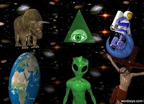 sky is 5000 inch wide [sky].ground is clear.sky is 2000 feet tall.a 170 inch tall shiny malachite green alien is -70 inch above the ground.a 60 inch tall shiny dinosaur is 10 inch above the alien.the dinosaur is facing southeast.the dinosaur is -10 inch left of the alien.a 100 inch tall  and 100 inch wide and 30 inch deep earth is 40 inch left of the alien.the earth is on the ground.the earth is facing east.a 180 inch tall shiny crucifix is -40 inch right of the alien.the crucifix leans 15 degrees to left.a 50 inch tall flat shiny malachite green pyramid is 20 inch above the alien.a 20 inch tall shiny green eye is in front of the pyramid.a 70 inch tall shiny blue [flag] astronaut is -20 inch above the crucifix.the astronaut is facing southeast.the astronaut leans 25 degrees to left.a 40 inch tall   delft blue moon is -96 inch above the astronaut.the moon is facing west.the moon leans 55 degrees to back.