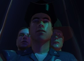 A glass is in front of and -2 foot above a man. A navy light is behind the glass. Camera light is black. The sun is sea blue. A cyan light is 1 feet right of and in front of and 1 feet above the man. The hat of the man is black. The man is leaning 3 degrees to the front. The sky is black. A dark man is -1.64 feet right of and -1.7 feet behind the man. 3 dim scarlet lights are right of and -2.5 feet above the man. The man is 3 inch above the ground. A man is -1.15 feet left of and -1.8 feet behind the man. He is leaning 5 degrees to the back. He is on the ground