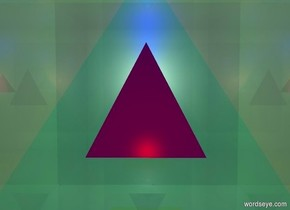 a 1 foot tall purple pyramid is -4 feet above a 8 foot tall shiny malachite green cube. a blue light is 1 foot above the pyramid. a red light is right of the pyramid.
