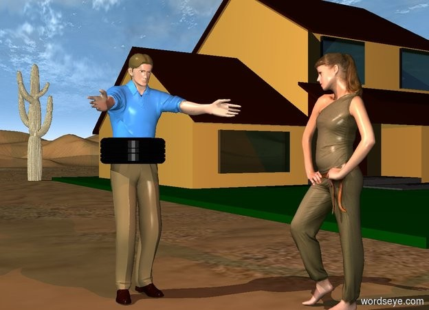 Input text: a 1.6 foot tall tire leans 90 degrees to the right. it is -2.7 feet above and -3 feet in front of a man. a woman is right of and in front of the man. she faces him. a house is 10 feet right of and behind the man. a large saguaro is -1 foot behind and left of the house. a brown light is above and in front of the man.