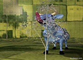 a 100 inch tall and 80 inch wide and 300 inch deep shiny delft blue cow.a grass backdrop.ground is 300 inch wide [grass].a 12 inch tall and 8 inch wide and 24 inch deep tongue is -4 inch in front of the cow.the tongue is -29 inch above the cow.the tongue is upside down.a 100 inch tall shiny gray tree is -90 inch  left of the cow.the tree is -20 inch in front of the cow.the tree leans 20 degrees to the front.the tree is -10 inch above the ground.
