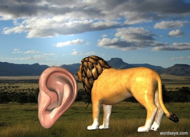 Input text: a 4 feet tall ear.a lion is 1 feet in front of the ear.it is facing the ear.africa backdrop.a brown light is 6 inches in front of the ear.
