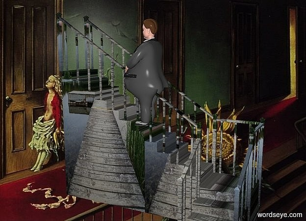 Input text: a 100 inch tall    staircase.a [staircase] backdrop.a 50 inch tall man is -55 inch above the staircase.the man is facing west.the staircase is 50 inch wide [wood].