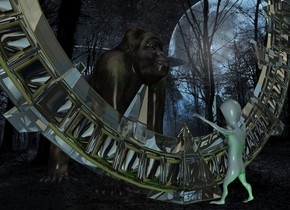 The  image  backdrop. a clear structure.a 20 feet tall alien is 12 inches behind the structure.a 40 feet tall primate is in front of the structure.it is facing the structure.a blue light is above the primate.a green light is 6 inches behind the alien.