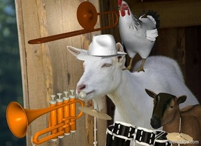 The  [fun] backdrop. The trumpet. The hat is .4 foot above and -2 inches behind the trumpet. The chicken is behind and -10 inches above the hat. The goat is 1.5 foot to the right of the trumpet. It is 1.2 feet tall. The very tiny musical instrument is in front and -7 inches above the goat.it is facing back. The small trombone is in front and -10 inches above the chicken. It is leaning 8 degrees to the front.