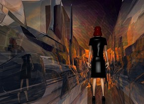 ground is 100 feet tall and 5000 feet wide and 150 feet deep.ground is clear.a [abstract] backdrop.a 200 inch tall woman.the woman is facing east.