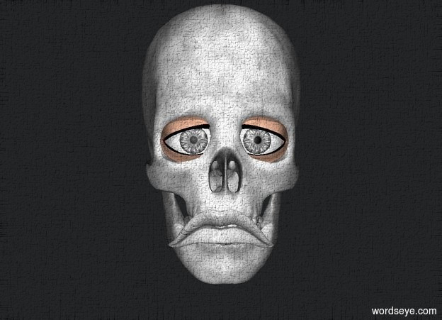Input text: a gray skull. a 1st .15 foot tall eye is -.1 foot  in front of and -.5 foot above and -.27 foot right of the skull. the eye is gray. a 2nd .15 foot tall eye is -.1 foot in front of and -.5 foot above and -.27 foot left of the skull. the eye is gray. charcoal gray backdrop. sun is black. a gray light is -.2 foot in front of and -.55 foot above the skull. a gray .27 foot wide mouth is .2 foot tall [dirt]. it is -.075 foot in front of and -.715 feet above the skull.
