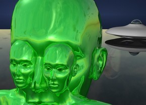 a 1st 100 inch tall shiny green woman.ground is clear.a 2nd 30 inch tall shiny green woman is -7 inch in front and -65 inches to the right of the 1st woman.the 2nd woman is -35 inch above the 1st woman.a [electric] backdrop. another 30 inch tall shiny green woman is -28 inches to the left of the 2nd woman. the spaceship is 50 feet behind and -5 feet to the right of the 1st woman.