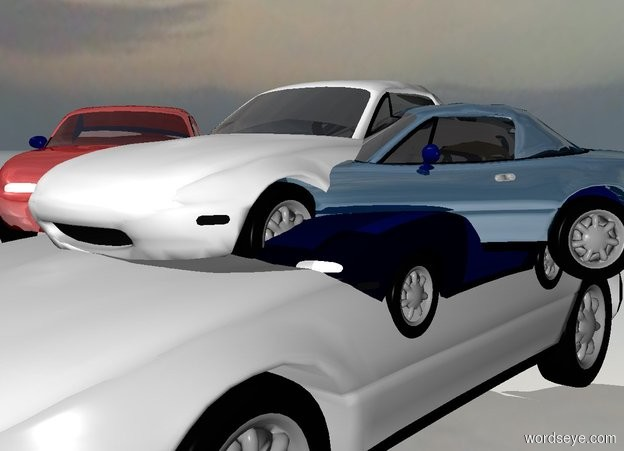 Input text: a 100 inch tall gainsboro car. a 60 inch tall white car is -45 inch above the car. a 1st 55 inch tall shiny maroon car is -30 inch left of the car. the 1st car is facing southeast. a 2nd 50 inch tall shiny petrol blue car is -30 inch right of the car. the 2nd car is facing southwest. the 2nd car is -60 inch above the car. ground is shiny. a 1st 23 inch tall car is -27 inch above the car. a 2nd 20 inch tall car is -50 inch above the car. the 2nd 20 inch tall car is -10 inch in front of the car. the 2nd 20 inch tall car is facing north. a 40 inch tall car is -90 inch above the car. the car is -30 inch right of the car. the car is facing northeast. the car is -40 inch in front of the car  sky is petrol blue. azimuth of the sun is -120 degrees.