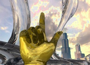 A gold hand. The ground is clear. The sun is silver. A clear snake is behind the hand. A clear snake is -2 foot right of the snake. It is facing north. The background is city. The background is 50% dark.