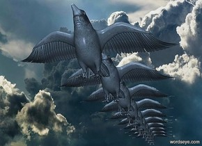 ten 100 inch tall crows.the crows are facing west.a [cloud2] backdrop.the crows are 30% dim slate gray.