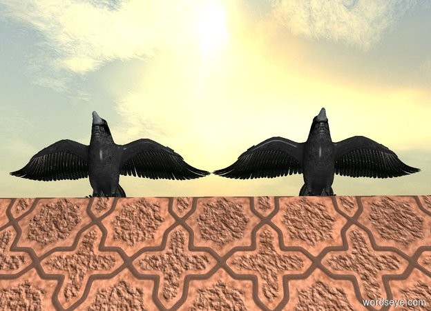 Input text: a sienna [tile] church. a huge crow is -10 feet above and -17 feet right of  the church. it faces back.  it leans back. a 2nd huge crow is left of the crow. it faces back.  it leans back.