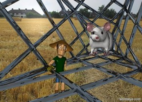 a shiny structure.it is face up.a  man is -6 feet left of the structure.he is facing southeast.land backdrop.a 4 feet tall mouse is -22 inches above the man.it is right of the man.the mouse is behind the man.the mouse is leaning 5 degrees to the south.the ambient light is dull.