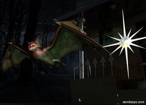 The  image  backdrop. a giant bat.a silver giant north star is -7 inches above the bat.it is 5 feet behind the bat.the bat is 1 feet above the ground.silver ground.a clear house is 7 feet behind the bat.it is on the ground.a 70% green light is 6 inches beneath the bat.a rust light is 6 inches in front of the bat.a yellow light is 3 inches right of the north star.a lemon light is in front of the north star.